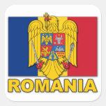 Bandera del escudo de armas de Rumania Pegatina Cuadradas Personalizada