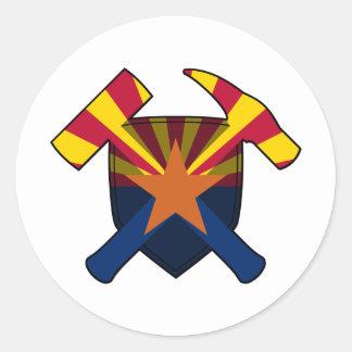 Bandera del estado de Arizona del escudo del Pegatina Redonda