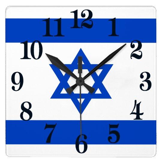 Bandera del estado de Israel Reloj Cuadrado
