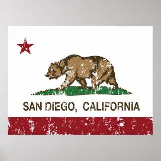 Bandera del estado de San Diego California Impresiones
