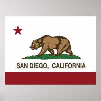 Bandera del estado de San Diego California Póster
