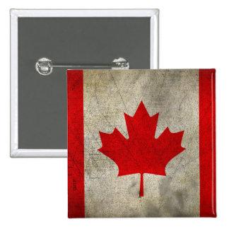 Bandera del Grunge del vintage de Canadá Chapa Cuadrada