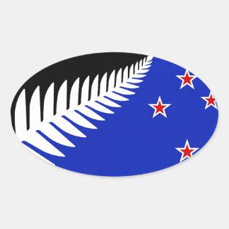 Bandera del helecho de plata de Nueva Zelanda Pegatina Ovalada
