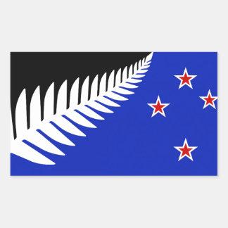 Bandera del helecho de plata de Nueva Zelanda Pegatina Rectangular