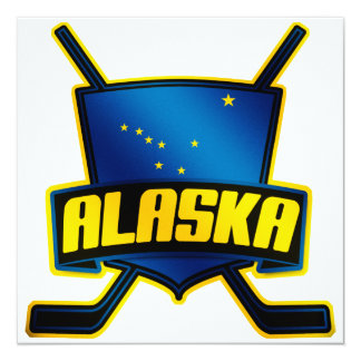 Bandera del hockey sobre hielo de Alaska Invitación 13,3 Cm X 13,3cm