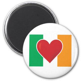 Bandera del irlandés del corazón imán redondo 5 cm