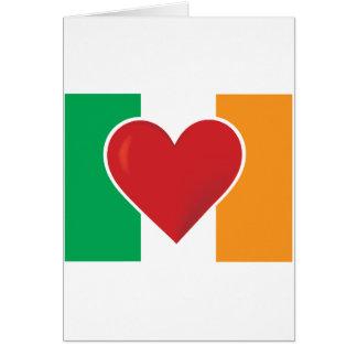 Bandera del irlandés del corazón tarjeta de felicitación
