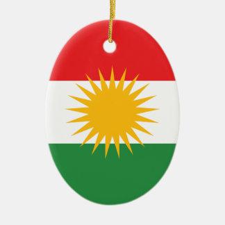 Bandera del Kurdistan Adorno Navideño Ovalado De Cerámica