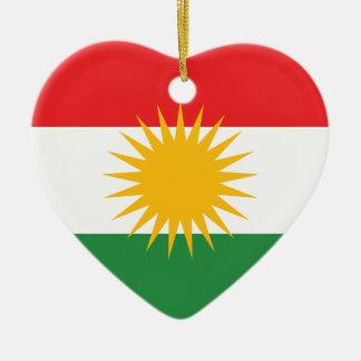 Bandera del Kurdistan; Kurd; Kurdo Adorno Navideño De Cerámica En Forma De Corazón