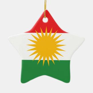 Bandera del Kurdistan; Kurd; Kurdo Adorno Navideño De Cerámica En Forma De Estrella