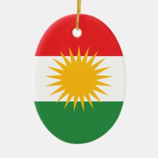 Bandera del Kurdistan; Kurd; Kurdo Adorno Navideño Ovalado De Cerámica