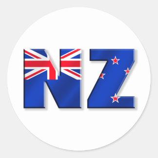Bandera del logotipo de NZ de Nueva Zelanda Pegatina Redonda
