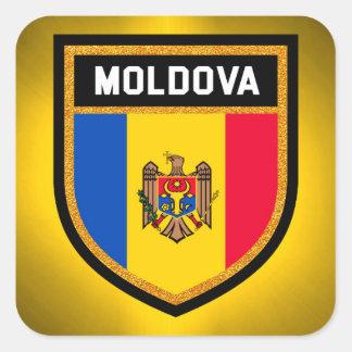 Bandera del Moldavia Pegatina Cuadrada