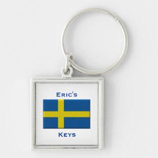 Bandera del nombre de encargo sueco de Suecia Llavero Cuadrado Plateado