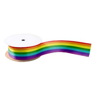 Bandera del orgullo del arco iris de 7 rayas lazo de raso