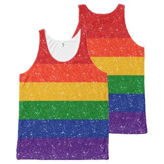 Bandera del orgullo del arco iris del brillo camiseta de tirantes con estampado integral