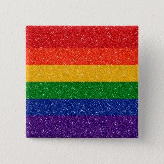 Bandera del orgullo del arco iris del purpurina chapa cuadrada