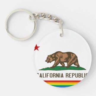 Bandera del orgullo gay de California Llavero Redondo Acrílico A Una Cara