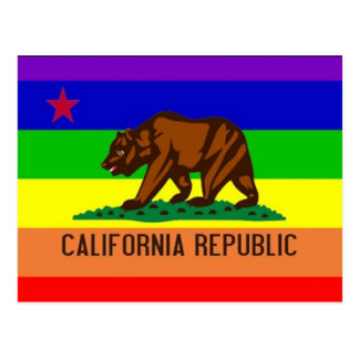 Bandera del orgullo gay de California Postal