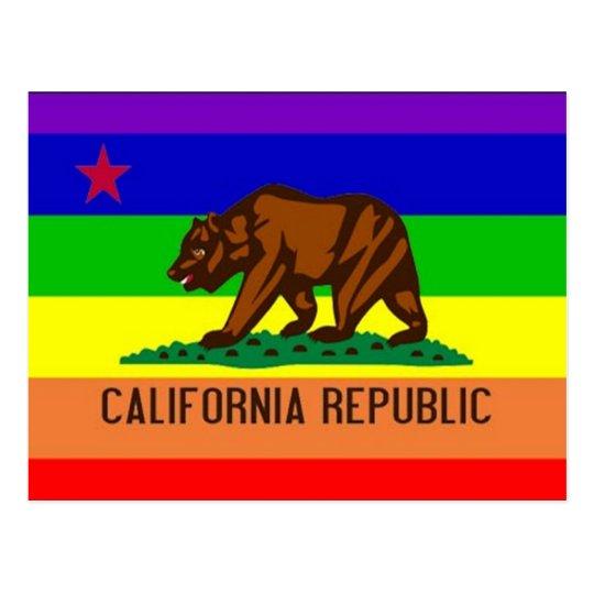 Bandera del orgullo gay de California Postal