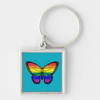 Bandera del orgullo gay de la mariposa del arco llavero personalizado