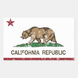 Bandera del oso de la república de California Pegatina Rectangular