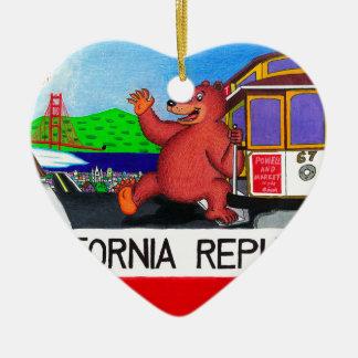 Bandera del oso de San Francisco California Adorno De Cerámica