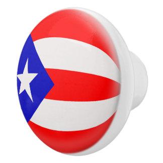 Bandera del puertorriqueño de Puerto Rico Pomo De Cerámica