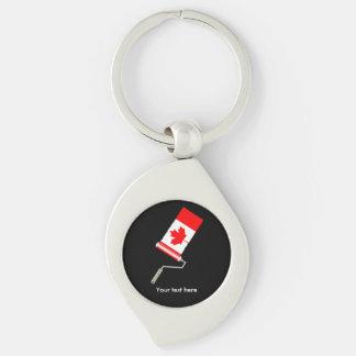 Bandera del rodillo de pintura de Canadá Llavero Plateado En Forma De Espiral