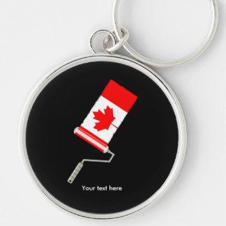 Bandera del rodillo de pintura de Canadá Llavero Redondo Plateado