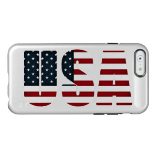 bandera del texto de los E.E.U.U. Funda Para iPhone 6 Plus Incipio Feather Shine