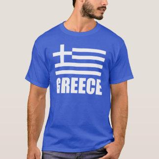 Bandera del texto del blanco de Grecia Camiseta