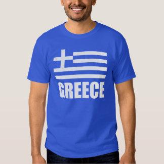 Bandera del texto del blanco de Grecia Camisetas