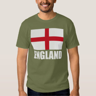 Bandera del texto del blanco de Inglaterra Camisetas