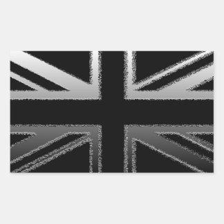 Bandera del Union Jack del gris negro y de plata Pegatina Rectangular