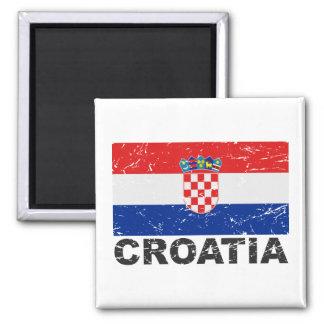 Bandera del vintage de Croacia Imán Cuadrado