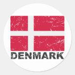 Bandera del vintage de Dinamarca Pegatina Redonda