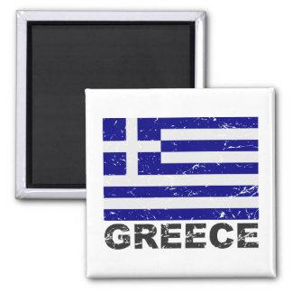 Bandera del vintage de Grecia Imán Cuadrado