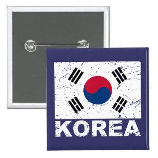 Bandera del vintage de la Corea del Sur Chapa Cuadrada