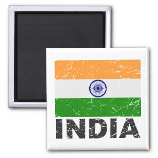 Bandera del vintage de la India Imanes De Nevera