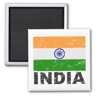 Bandera del vintage de la India Imán Cuadrado
