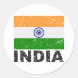 Bandera del vintage de la India Pegatinas Redondas