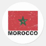 Bandera del vintage de Marruecos Pegatina Redonda