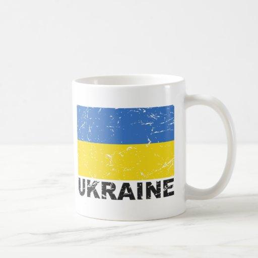 Bandera del vintage de Ucrania Taza De Café
