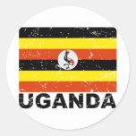 Bandera del vintage de Uganda Pegatina Redonda