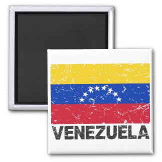 Bandera del vintage de Venezuela Imán Cuadrado