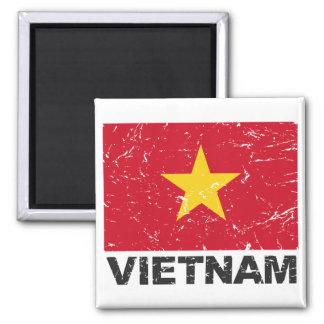 Bandera del vintage de Vietnam Imán Cuadrado