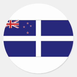 Bandera del yate de Nueva Zelanda Pegatina Redonda