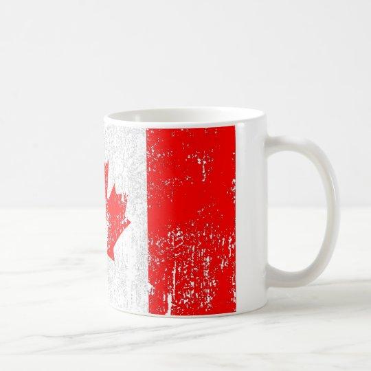 Bandera descolorada de Canadá Taza De Café