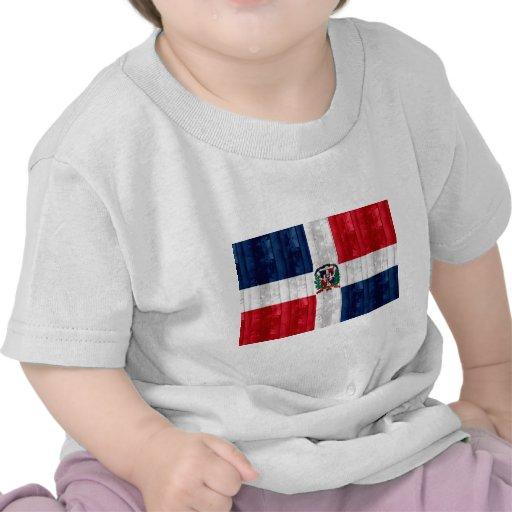 Bandera dominicana de madera camisetas